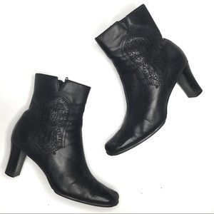 Chico's Embroidered Black Leather Corral Boots